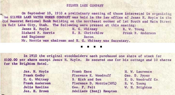Silver Lake Water Company Excerpt